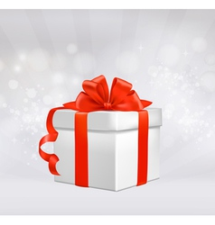 red gift box with red ribbons vector image vector image
