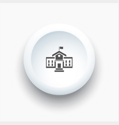 School building icon on a 3d white button vector