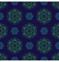Seamless Green Blue Floral Mandala Pattern vector image