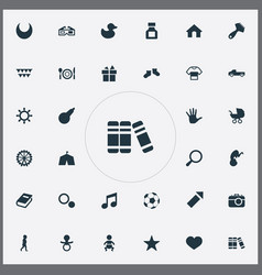 Set of simple baby icons elements dictionary vector