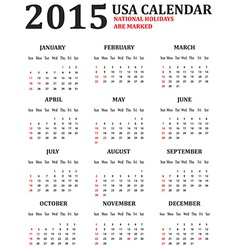 Simple USA Calendar for 2015 American holidays are vector image