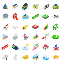 Sinking house icons set isometric style vector