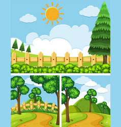 three scenes with fields and trails vector image