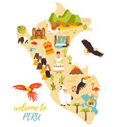 Tourist map of peru with different landmarks vector