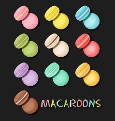 Various type of macaroons or macarons vector