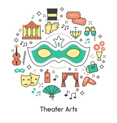 Theater arts line art outline icons set with mask vector