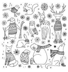 Christmas animals set vector image