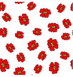 seamless pattern with abstract red flowers vector image