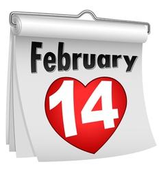 14 Feb Paper Flip Calendar vector image vector image