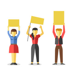 protesting people holding empty yellow banners vector image