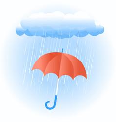Rain cloud with red umbrella vector