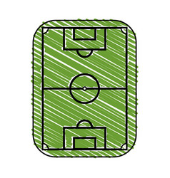 Color crayon stripe cartoon soccer field grass vector