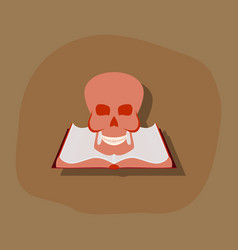 Paper sticker on stylish background book skull vector