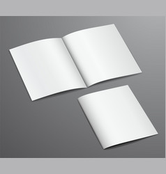 Blank white closed and open brochure magazine vector