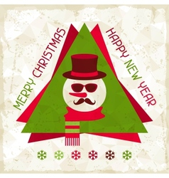Merry christmas background with snowman in hipster vector