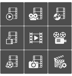 Film icon pack on black background vector