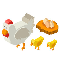 3d design for chickens and eggs vector image