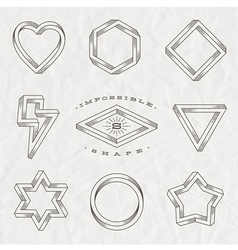 Set of line art tattoo style impossible shapes vector