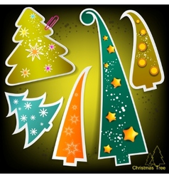 set of stylish paper christmas trees vector image