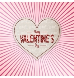 Happy valentines day white paper banner vector