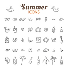 Hand drawn summer icon set Beach icons collection vector image