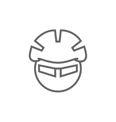 Man in bicycle helmet and glasses line icon vector