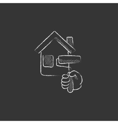 House painting drawn in chalk icon vector