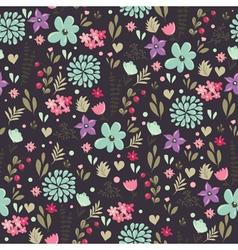 Spring floral pattern dark vector
