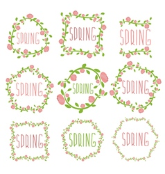 Set of spring labels with flowers and leaves vector image