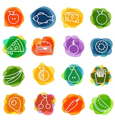 Different food silhouette icons collection vector