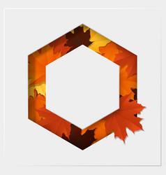 Autumn leaves on geometric paper cut background vector