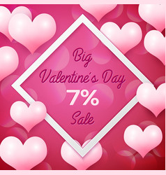 big valentines day sale 7 percent discounts with vector image vector image