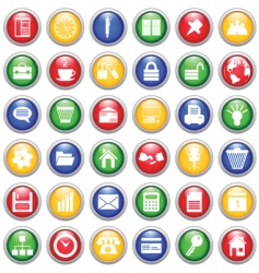 business and office icons set vector image vector image