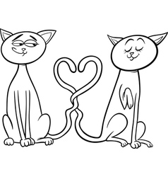 cats in love cartoon coloring page vector image vector image