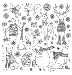 Christmas animals set vector image