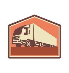 Container truck and trailer flames retro vector