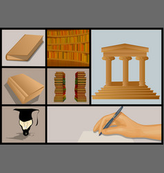 Education and books set vector