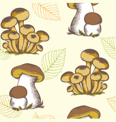 Forest mushrooms and falling leaves vector