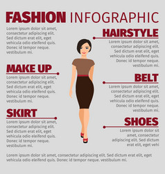 Girl in brown dress fashion infographic vector