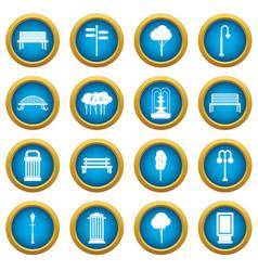 Hangar icons blue circle set vector