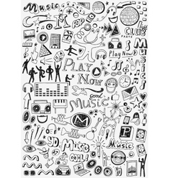 Music doodles set vector image vector image