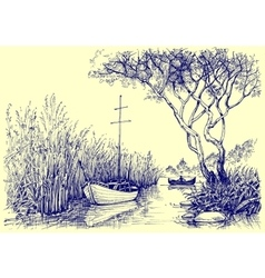 Nature sketch Boats on river fishermen at work vector image
