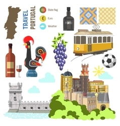 Portugal culture symbol set Europe Travel Lisbon vector image