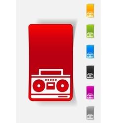 Realistic design element cassette recorder vector