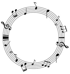 Round frame template with music notes on scales vector