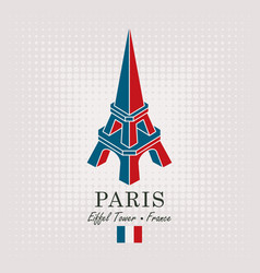 schematic drawing of the eiffel tower with flag vector image vector image