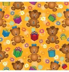 Seamless background bears and gifts vector image vector image