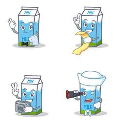 Set of milk box character with waiter menu photo vector