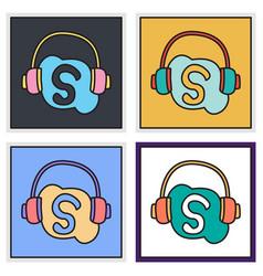 Set of unusual look skype logo vector