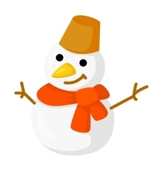 snowman isolated on white Cartoon style vector image vector image
